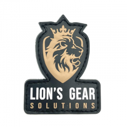 Lion's Gear Solutions logo patch on FDE (Flat Dark Earth)