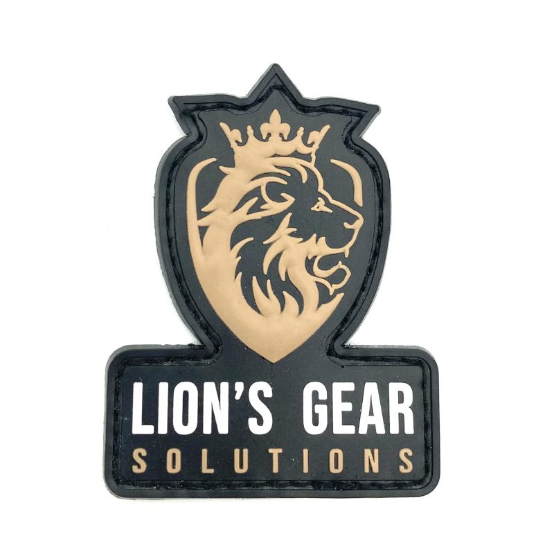 Lion's Gear Solutions logo patch on FDE (Flat Dark Earth)